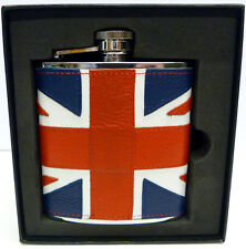 6oz Union Jack Leather Covered Stainless Steel Hip Flask Captive Lid (fl52)