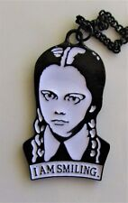 "WEDNESDAY I AM SMILING SHAPED METAL PENDANT & 10"" CHAIN GOTHIC HORROR BLACK"