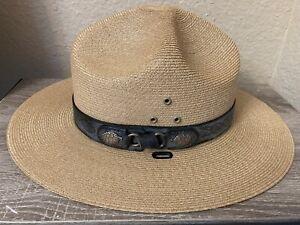 Vintage Stratton Hats Chicago Straw USNPS Ranger Hat Made in USA 7 1/8 Nice!