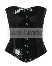 c454da4f6f8 Full Steel Boned Spiral Victorian Overbust Gothic Fetish Black PVC Vinyl  Corset