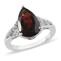 925 Sterling Silver Platinum Over Garnet White Zircon Ring Jewelry Gift Ct 3.5