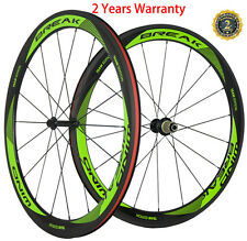 700C 50mm Clincher Carbon Road Wheels Carbon Bike Wheelset V Shape 23mm Width