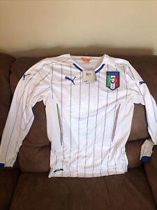 Puma Italia Long Sleeves White Soccer/futbol Jersey/shirt New With Tags Sz M Men