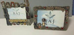 Two Pewter Family easel back photo frames 3 1/2 x 5 & 3 x 4