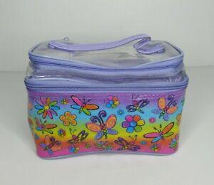 Lisa Frank Vintage Fashions Colorful Butterfly Plastic Storage Makeup Bag