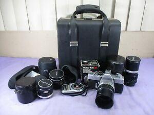 Minolta SRT101 Camera w/ 58mm 1.4 Len, & 3 Lenses, Vivitar Flash, Case & MORE ++