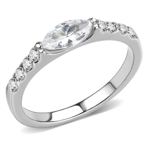 8x4 mm Marquise Cut 316 Stainless Steel CZ Clear April Stone Lady Ring Size 5-10