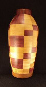 """Segmented Vase Handcrafted Lathe Turned-5.3 dia.x 11.5"""" ht. Natural Wood 2018-11"""