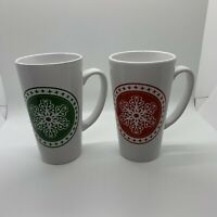 Lot Of 2 Coffee Mugs Design Pac Design Christmas Mugs Snowflake Green Red EUC