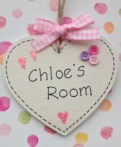Personalised Childrens Name Plaque Heart Nursery Bedroom Sign Gift Baby Girls 💖