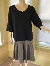 Rare Olars Ulla Sweden Black blouse top unique Linen Tunic langenlook Sz L EUC !