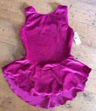 NWT Ice Slating Skate Dress Motionwear Fushia Sparkle Velvet girls Large 12/14