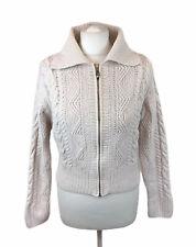 Karen Millen Chunky Knit Zip Cardigan White Cropped Womens 2