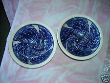 Pr of Colbalt Blue Stylized Bird Decorated Stoneware Bowls