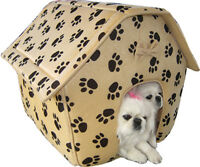 NEW Large Cozy Soft Cat Kitten Dog Pet House Collapsible Pet Home Paw Prints 132