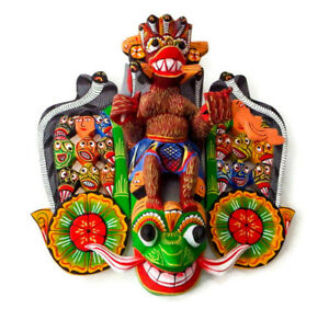 "Beautiful Hand Carved Wood Wall Decor 18 Figure Sri Lankan Maha Kola Mask 12"""
