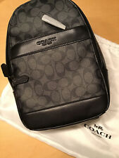 COACH Charles Black/Grey Smooth Leather & Canvas Sling Slingpack Backpack-F54787