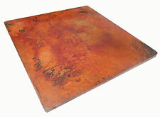 Mexican Square Copper Table Top Hand Hammered 48 Inches Natural Patina