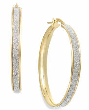.925 Sterling Silver Yellow Gold Plated 3mm Thick Stardust Glitter Hoop Earrings