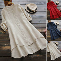 Women Ladies Casual Loose Linen Soild Button Long Sleeve Long Shirt Blouse Tops