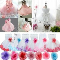 UK Baby Flower Girls Christening Dress Wedding Bridesmaid Gown Birthday Dresses