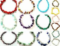 Gemstone bracelet raw natural chip stone beads elasticated handmade  6in - 10in