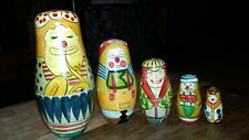 Russian doll hand painted clown orchestra genuine 5 pcs 14 cm highest