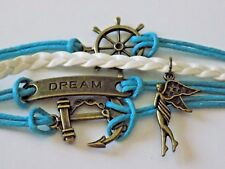 Bronze Blue Wax Leather Cords Dream Anchor Ship Wheel Angel Charms Wrap Bracelet