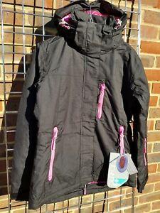 Female ski jacket and winter coat. Surfanic. Aurora. Black. Size 8