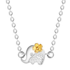 925 Silver Small Flower Elephant Simple Temperament Jewelry Pendant Necklace
