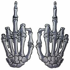 XLG White Skeleton Hand Middle Finger Kreepsville Embroidered Iron On Patch