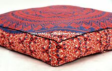 "Indian Ottoman Pouf Sham Red Cushion Case 35"" Ombre Mandala Large Floor Pillow"