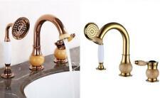 Brass Bathtub Rose Gold, Gold Split Faucet Single Handle w/Handheld Shower 4PCS