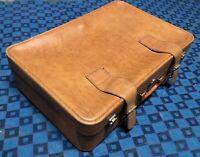 ancienne valise rétro vintage Cuir Beige H 18 L 68 l 45 cm #70