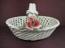 Porcelain Basket Lattice with Applied Pink Roses White Spaghetti Style