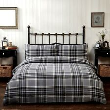 Rapport Campbell Check 100 Brushed Duvet Set Cotton Black King