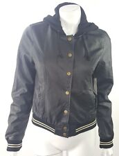 New Look Womens Medium Black White Hooded Varsity Jacket Lined PU Pleather NWT