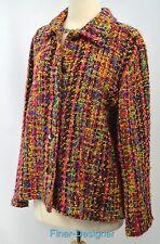 CHICOS jacket light coat blazer chenille bouncle multi color shag Chico 2 M VTG