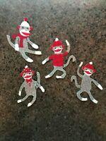 Christmas Sock Monkey - 4 - Iron-On Fabric Appliques....Small.