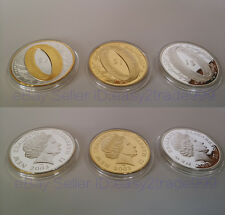 Lot 3Pcs Lord of the Rings New Zealand $1 Gold & Silver Plated - Souvenir Coins