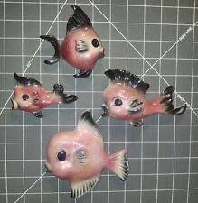 Ceramicraft Vintage 50s-60s lot of 4 ceramic fish wall decor plaque San clemente
