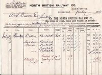 NORTH BRITISH RAILWAY CO Edinbh. Dues on Coal, Shale, Etc 1880 Invoice Ref 45185
