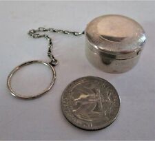 STERLING SILVER SMALL ROUND ANTIQUE PILL BOX ON CHAIN & RING - GOOD CONDITION