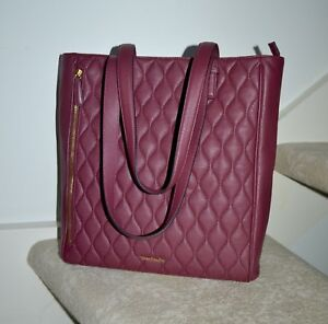 NWT $298 Vera Bradley Quilted Leather 'Leah' Tote CLARET Red Handbag Bag