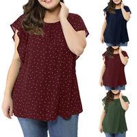 Women's Plus Size Solid Self-tie Neck Ruffle Sleeves Chiffon Blouse Shirt Top