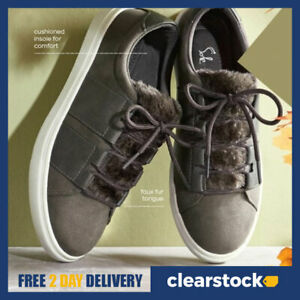 AVON Ladies Womens Warm Faux Fur Lined Lace Up Trainers Shoes Size 5 6 7 8