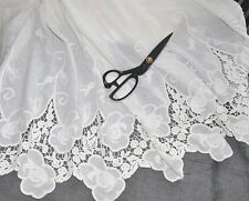 """White Lace Fabric Cotton Both Sides Embroidery Flower Wedding 51.1"""" Width 1 Yard"""