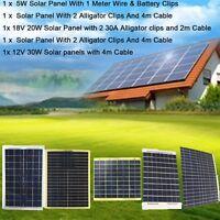 5W/10W/20W/30W SOLAR PANELS SOLARPANEL SOLARMODULE CABLE &CLIP CAR BOAR CHARGING