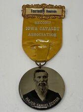 Gar Ribbon Second Iowa Calvary Celluloid Button Major Samuel Foster 1909 19-1219
