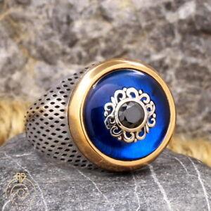 Blue Stone Mens Ring Round Sapphire Signet Heraldic Renaissance Gift For Husband